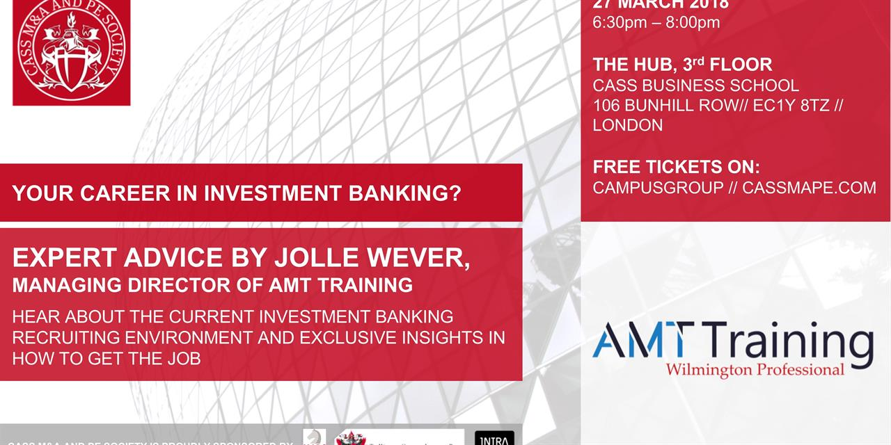 Your Career in Investment Banking? Expert advice from Jolle Wever Event Logo