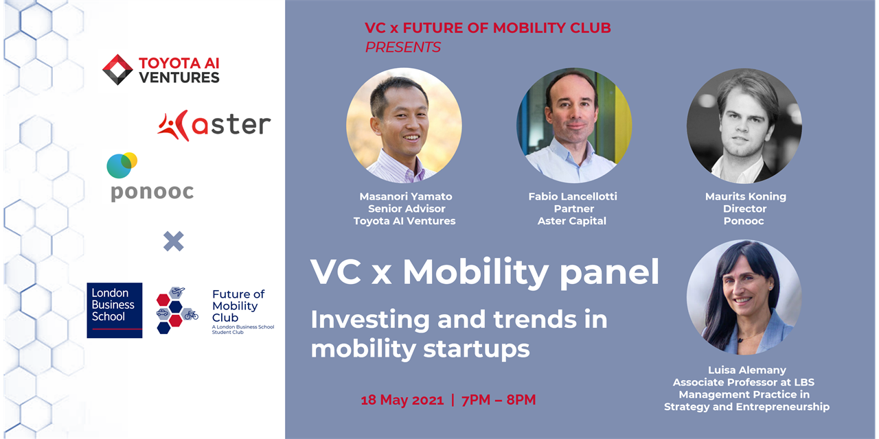 VC x Mobility panel with Toyota AI Ventures, Asteer, Ponooc and Luisa Alemany Event Logo