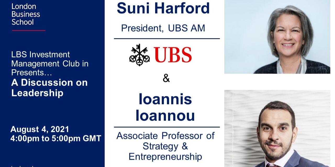 IMC Speaker Series: Suni Harford, President of UBS AM & LBS Professor Ioannis Ioannou Event Logo