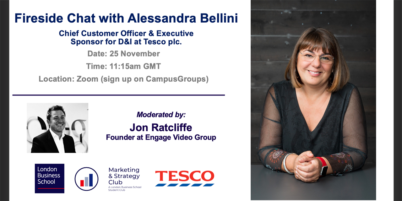 Fireside Chat with Alessandra Bellini - Chief Customer Officer & Executive Sponsor for D&I at Tesco plc. Event Logo