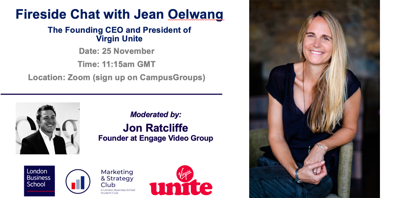Fireside Chat with Jean Olweng - Founding CEO of Virgin Unite Event Logo