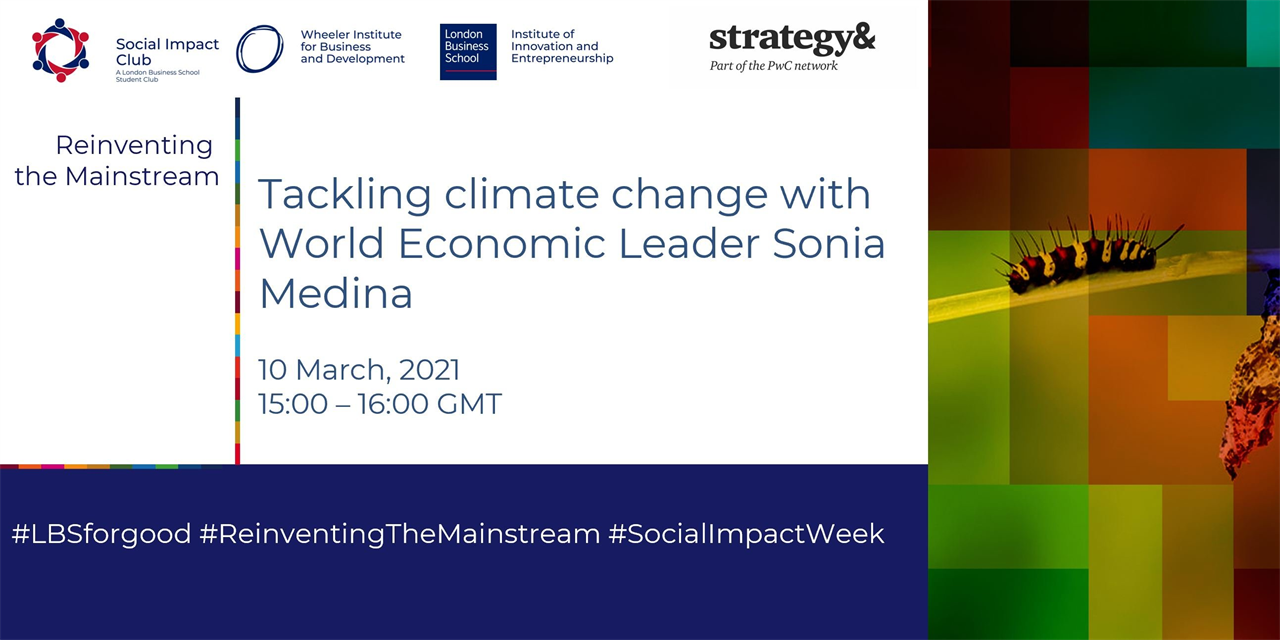 Tackling Climate Change with World Economic Forum Leader Sonia Medina Event Logo