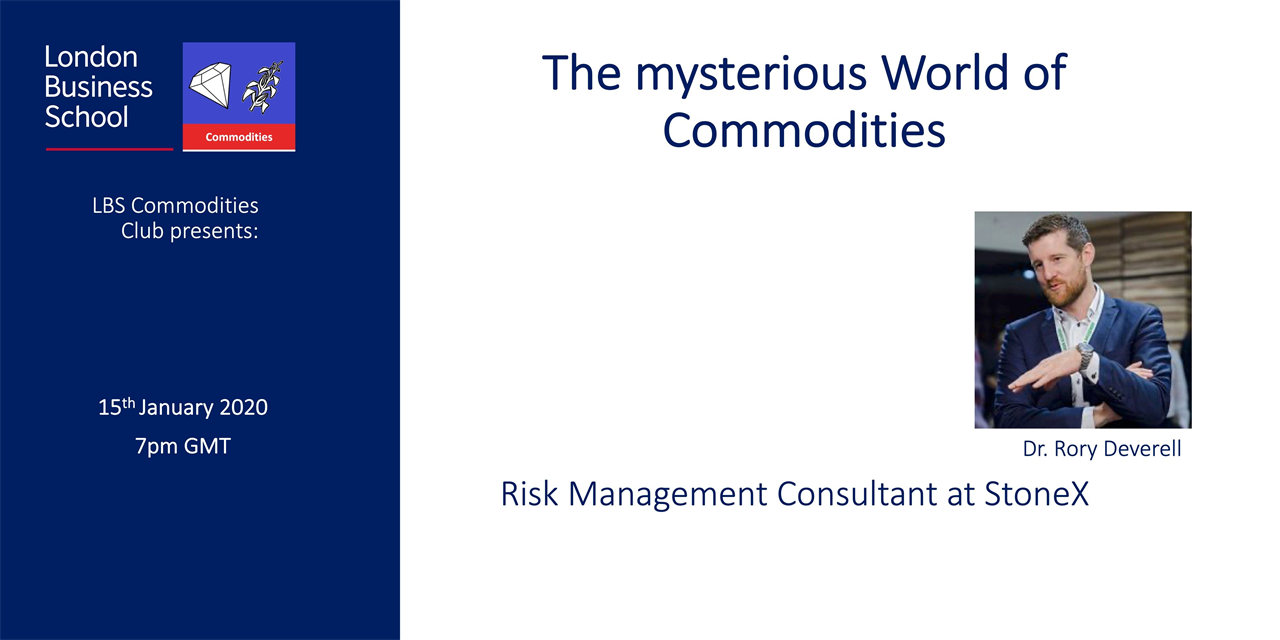 The mysterious World of Commodities - Speaker Event with Dr. Rory Deverell (StoneX) Event Logo
