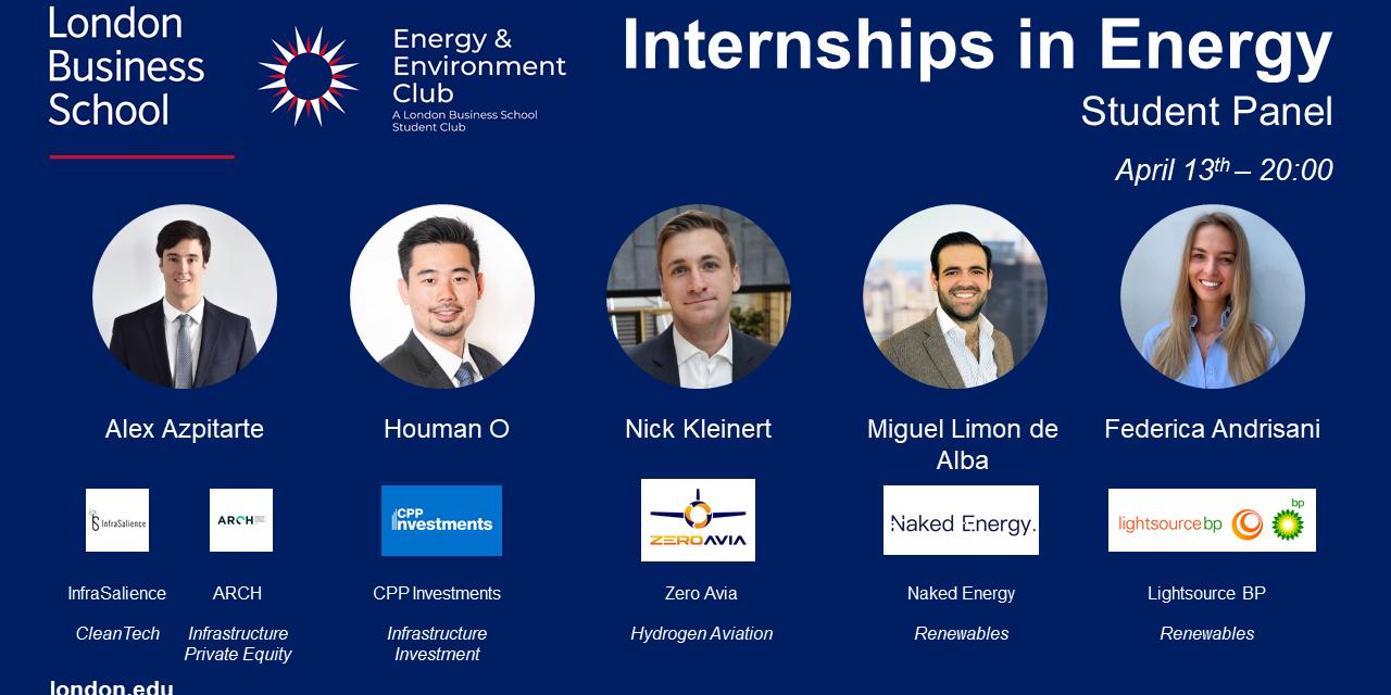Internships in Energy - Student Panel Event Logo