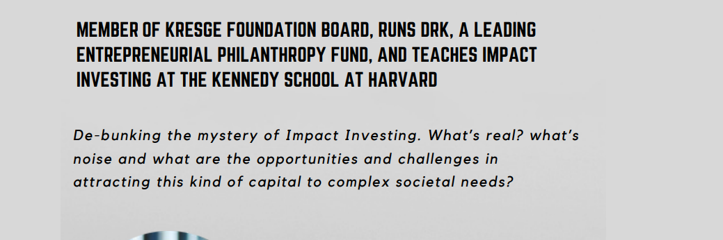 De-bunking the mystery of Impact Investing - Lecture by Jim Bildner